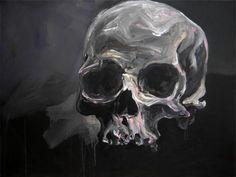 Fred Calmets, Purple skull, 130 cm x 97 cm, Technique mixte, 2010 ©