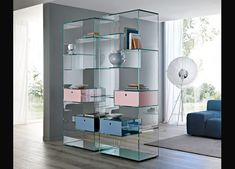 Liber A modern Italian bookcase in transparent with mirrored base. Glass: transparent and extra clear. Glass Bookcase, Glass Shelves, Glass Furniture, Furniture Design, Furniture Ideas, Glass Shelf Brackets, Wooden Drawers, Shelf Design, Home Office Desks