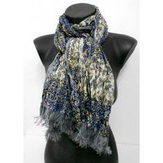 Cheche en soie froissé gris et bleu