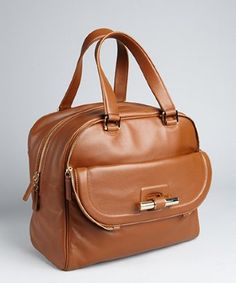 Jimmy Choo : tan leather 'Justine' slide bar large satchel