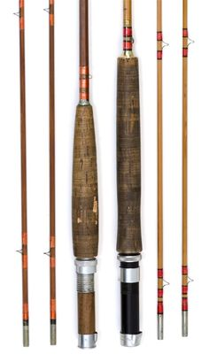 """TWO BAMBOO FLY RODS 20th Century <br /> Both are  two-piece rods with extra tips. One by Orvis, length 97"""". Cased. One by Herters, Inc., length 97""""."""