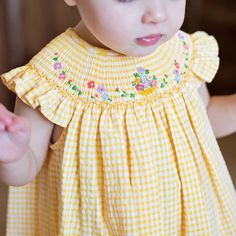 It is sunshine in her closet! ⠀ This Luli & Me dress is blooming with vibrant colors and pretty little details. Also available in big sister version.⠀ Link in bio.⠀ Free US ship on $50.⠀ .⠀ .⠀ .⠀ .⠀ .⠀ .⠀ #vinatagekids #vintage #embroidery #fashion #kids #smocking #smocked #eastersunday #easter #boutique