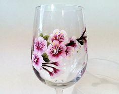 Hand Painted Cherry Blossom Wine Glass Cherry Blossoms Stemware