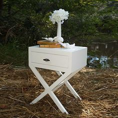 Chic Accent Table -nightstand/bedside table- white nightstand w/pewter handle shown, avail. as pair or set