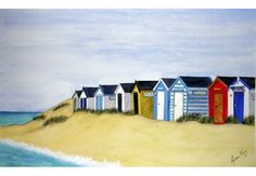 A selection of beach huts Paintings from Lynette Amelie Paintings Beach Huts Art, Beach Art, Seaside Beach, Unique Paintings, Watercolor Paintings, Watercolours, Beach Scenes, House Painting, Painting Inspiration