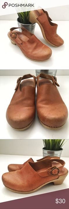 Dansko Clogs Vintage style cognac Dansko clog. Super comfy, and adorable with jeans. Some wear as pictured. Dansko Shoes Mules & Clogs