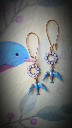 Turquoise Blue Bird Charm Earrings With by MissShugsJewelryShow