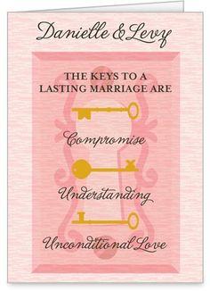 Key Points Wedding Card, Square Corners, Pink