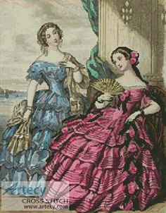 Artecy Cross Stitch. Victorian Fashions 5 Cross Stitch Pattern to print online.
