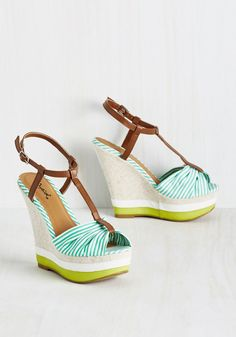Cause a Sun-Sation Wedge in Stripes. Step out in these spearmint-and-white striped wedges and incite some excitement!  #modcloth