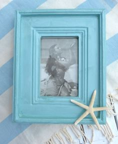 aqua turquoise wooden picture frame by beachcomberhome on Etsy, $22.00