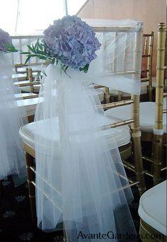 Tulle & Hydrangea Chair Decoration via Avante Gardens