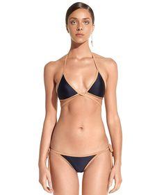 5854859af8 ViX Solid Black Piping Triangle Crossed Bikini Top Bikini Bottoms