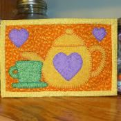 Tea Time Mug Rug - Teapot Mini Quilt - via @Craftsy