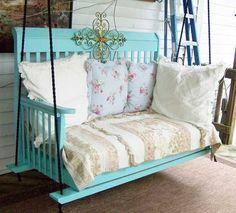 Porch swing from an old baby crib. | Top 30 Fabulous Ideas To Repurpose Old Cribs #DIY #Dwellaware www.dwellaware.com