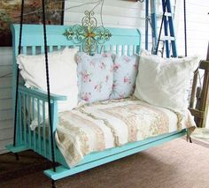 Porch swing from an old baby crib. | Top 30 Fabulous Ideas To Repurpose Old Cribs #DIY #Dwellaware www.dwellaware.com