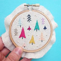 Christmas in April! So much fun to stitch up a set of tiny hoop ornaments (by request) in the middle of spring!