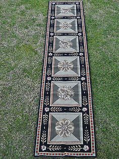 "2'6""x12' Handmade French Aubusson Design Wool Needlepoint Runner Rug ~Brand New"