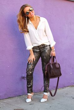 outfit. coated, printed denim, white pumps.