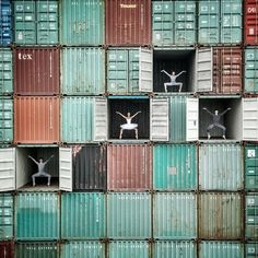 Artist JR tends to think big, and for the Festival Terre d'eaux, he thought exceptional massive. In The Ballerina in Le Havre, JR used the ends and sides of shipping containers as his creative canvas.