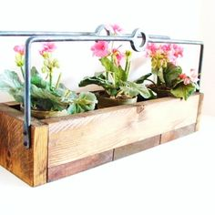 Planter Box Wine Rack Rustic Wood Tray Industrial Chic Forged Iron Handles Kitchen Decor Weddings Earth Friendly