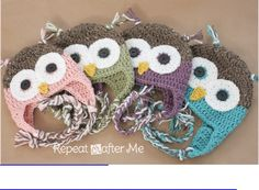 Crochet Owl Hat Pattern and many other free patterns!! Love this site!!