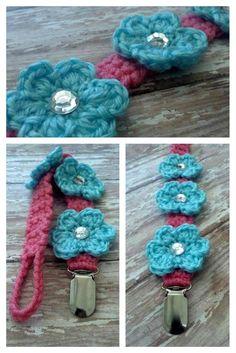 Crochet Flower Baby Pacifier Clip