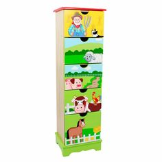 Shop for Fantasy Fields - Happy Farm 5 Drawer Cabinet. Get free delivery On EVERYTHING* Overstock - Your Online Furniture Outlet Store! Apocalypse, Kids Dressers, Kids Bookcase, Barnyard Animals, Kids Storage, Toy Organization, Organizing Ideas, Wooden Cabinets, Fantasy