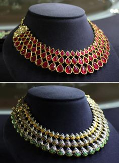 Adorned in rubies with enamelling on the reverse, this #amrapalijewels necklace is the epitome of #Bollywood glamour.