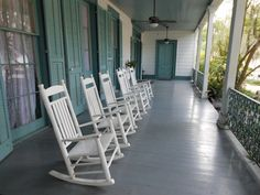 Back verandah at Rosedown Plantation. In the mid 1800s a man was murdered here. His ghost is said to roam the plantation home.