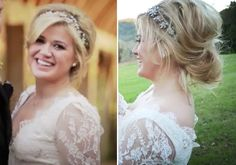 Kelly Clarkson wore a Swarovski crystal headpiece by Maria Elena at her farm wedding in Tennessee.
