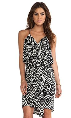 T-Bags LosAngeles Knot Front Knee Length Dress in Black White Ikat | REVOLVE
