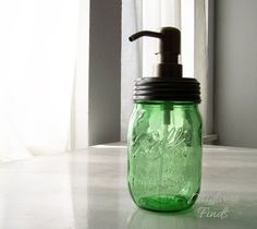 Lime Green Mason Jar Soap or Lotion Dispenser a by MidwestFinds