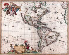 Antique Map North & South America Vintage 1658 Fade Resistant HD Print or Canvas in Art, Prints | eBay