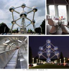Атомиум, Бельгия.  Атомиум строился к открытию Всемирной выставки в Брюсселе в 1958 году. Он изображает фрагмент кубической кристаллической решетки атома железа, увеличенный в 165 миллиардов раз. Это символ мирного использования атомной энергии. Высота Атомиума 102 метра, а диаметр каждой из девяти сфер — 18 метров. Шесть из этих сфер доступны для посетителей. Пять и них являются смотровыми площадками, а в самой высокой расположен ресторан.