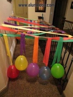 I LOVE this idea for our hallway - make it like a tunnel with balloons!