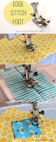 Learn How to Use an Edge Stitch Foot Ever wonder how sewists get perfect topstitching. The secret is to use an Edge Stitch Foot. Learn all about the secrets to better sewing with this amazing presser foot. The Edge Stitch Foot - The Seasoned Homemaker Sewing Tools, Sewing Hacks, Sewing Tutorials, Sewing Crafts, Sewing Ideas, Sewing Basics, Sewing Kits, Sewing Notions, Techniques Couture