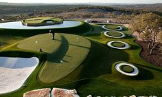 Dave Pelz's Austin-area home features a dynamic short-game practice facility and replicas of some famous greens. It's also low-maintenance -- the grass is made of SYNLawn synthetic turf that never requires watering or mowing. Wow!