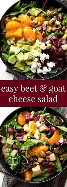 Super quick beet and goat cheese salad with a delicious orange honey poppyseed dressing -- perfect for Thanksgiving or Christmas! paleo dinner for 2 Vegetarian Recipes, Cooking Recipes, Healthy Recipes, Beet Salad Recipes, Quick Recipes, Smoothie Recipes, Winter Salad Recipes, Cooking Corn, Cooking Fish