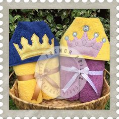 Royal Crowns hooded towel designs. #Embroidery #Applique