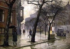"Paul Gustave Fischer (Danish, 1860 - 1934) ""Rainy Day"""