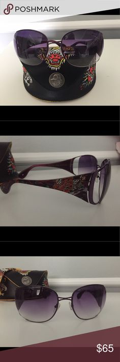 Ed Hardy Satin purple sunglasses with case. Ed Hardy sunglasses new with case and cloth.  Purple , red flowers and tiny stones on temples. Purple lenses. Very cool specs! Ed Hardy Accessories Sunglasses