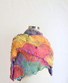 Rainbow Shawl Multicolor mother nekcwarmer wrap wram wedding,bride, gift,winter,handmade,lace,scarf,collar,cowl,stole,necklace,romantic