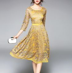 Summer Lace Work Dress Casual Slim Fashion O-neck Sexy Hollow Out Dress for  Women 8942d7fb9027