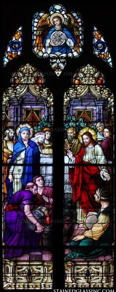"""""""Christ's Miracle Wine"""" Religious Stained Glass Window"""