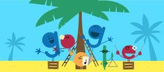 Holidays 2016 (Day 1) Warm Climates  Date: December 23 2016  Dust off your singing voice and get ready to bring some summer cheer! Today's Doodle celebrates the season with our festive chorus of melody-makers. What better spot to set up than under a shady palm tree with your loved ones? Happy holidays from this family of letters to you!  Location: Argentina Australia Brazil Chile Cuba New Zealand Peru Thailand Uruguay  Tags: holidays beach palm tree singing music