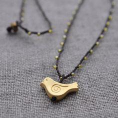 Little Bird matte gold charm pendant on daintiest by TrueJune, $35.00