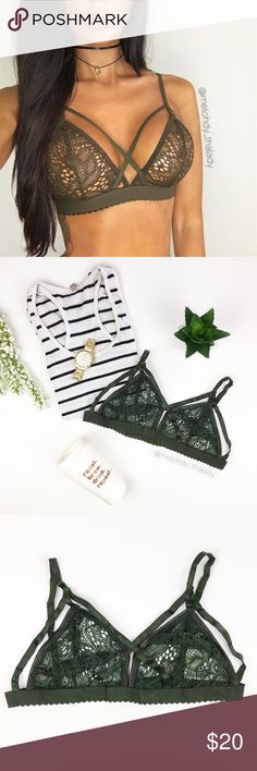 Lace Floral Bralette Pretty Floral Lace dark green Bralette. Item just as shown. No undewire, no adjustment back straps.  ▪️NWT (Boutique) ▪️Measures: (see images) ▪️Color: dark green Trade Intimates & Sleepwear Bras