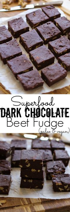 Healthy Dark Chocolate Fudge with Beets and Walnuts - dairy-free, refined sugar-free, and healthy!   TheRoastedRoot.net #superfood #recipe #dessert #vegan #paleo