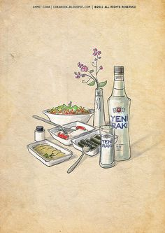 weekend with raki by ahmetcoka; Laser Cutter Projects, Advertising Networks, Watercolor Projects, Bad Memories, Poster Pictures, Turkish Recipes, Simple Art, App Design, Vintage Posters